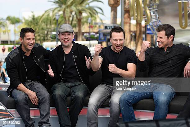 Jeff Timmons Justin Jeffre Drew Lachey and Nick Lachey of 98 Degrees visit 'Extra' at Universal Studios Hollywood on April 25 2016 in Universal City...