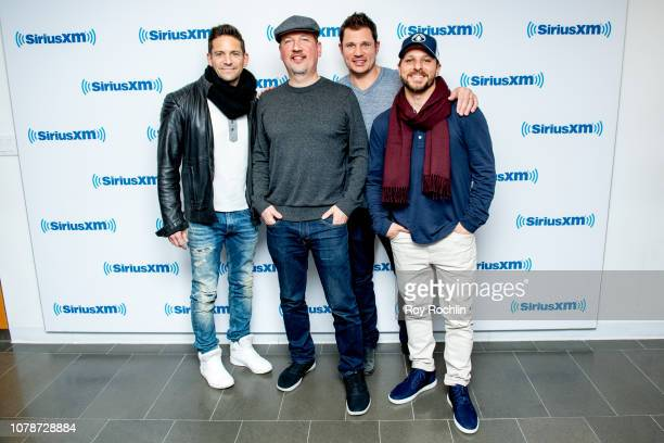 Jeff Timmons Justin Jeffre Nick Lachey and Drew Lachey of 98 Degrees visit SiriusXM Studios on December 07 2018 in New York City