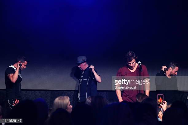 Jeff Timmons Justin Jeffre Nick Lachey and Drew Lachey of the group 98 Degrees perform during Under The Stars 2019 at Riverside Yacht Club on May 17...