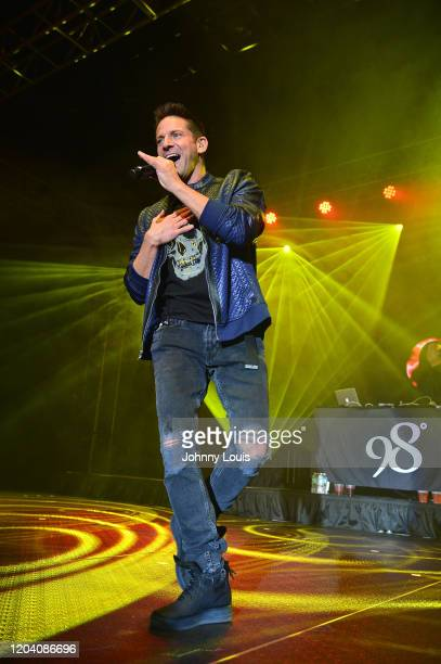 Jeff Timmons of 98 Degrees performs on stage at Seminole Casino Coconut Creek on February 28, 2020 in Coconut Creek, Florida.