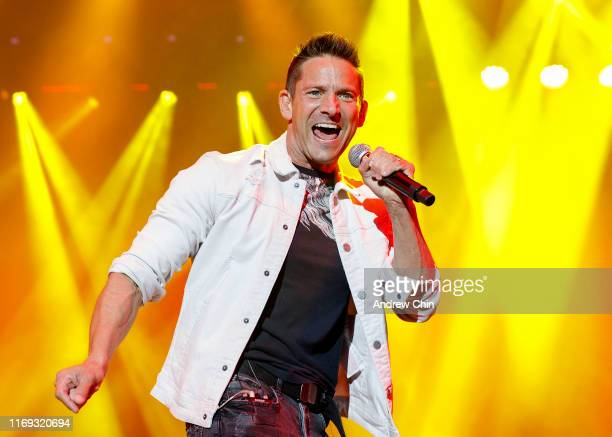 Jeff Timmons of 98 Degrees performs on stage during Summer Night Concerts at PNE Amphitheatre on August 20 2019 in Vancouver Canada