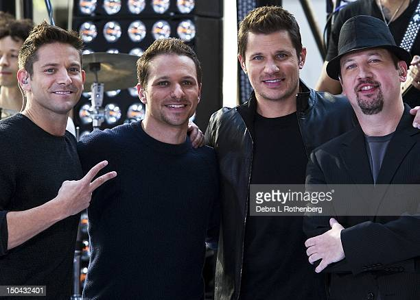 Jeff TimmonsDrew Lachey Nick Lachey and Justin Jeffre of 98 Degrees perform on NBC's Today at Rockefeller Plaza on August 17 2012 in New York City