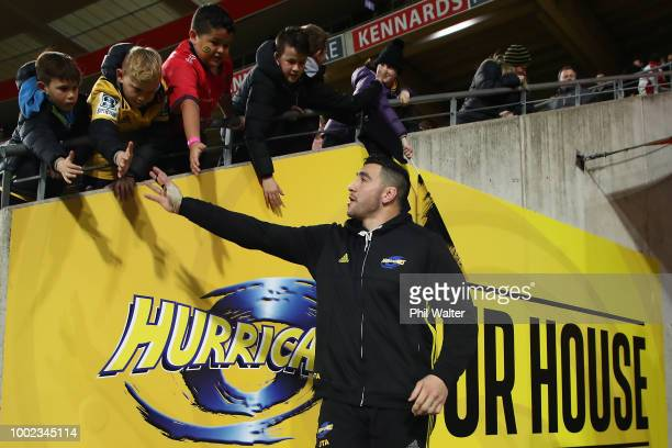 Jeff ToomagaAllen of the Hurricanes walks onto the field during the Super Rugby Qualifying Final match between the Hurricanes and the Chiefs at...