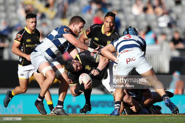 Jeff To'omagaAllen of Wellington charges forward during the Mitre 10 Cup Semi Final match between Auckland and Wellington at Eden Park on October 20...