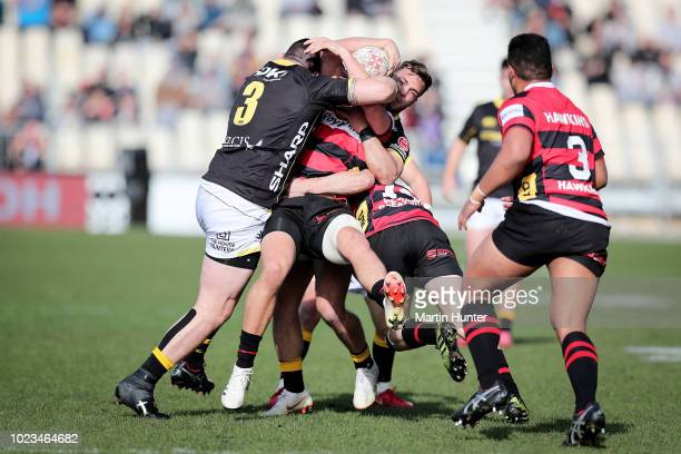 Jeff To'omagaAllen of Wellington tackles George Bridge of Canterbury during the round two Mitre 10 Cup match between Canterbury and Wellington at AMI...