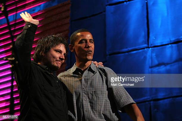Jeff Tweedy and his band Wilco are introduced by Sen Barack Obama at the 20th Anniversary Farm Aid concert benefiting the family farmers affected by...