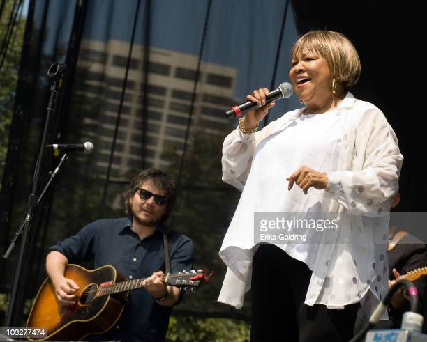Jeff Tweedy of Wilco joins Mavis Staples as she performs on the Budweiser Stage during the 2010 Lollapalooza Festival in Grant Park on August 6 2010...