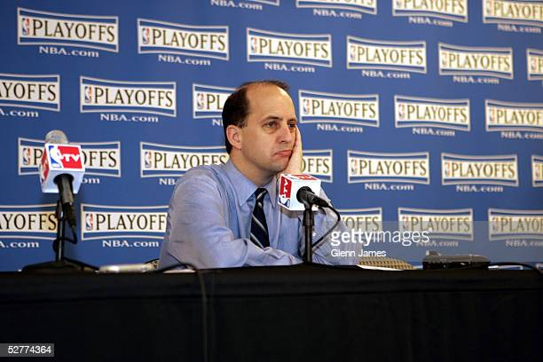 Jeff Van Gundy coach of the Houston Rockets addresses the media after the loss against the Dallas Mavericks in Game seven of the Western Conference...