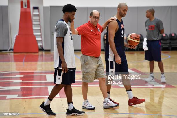 Jeff Van Gundy coaches Larry Drew II and Kendall Marshall of the USA AmeriCup Team during a training camp at the University of Houston in Houston...