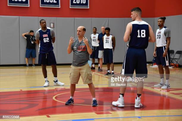 Jeff Van Gundy head coach of the USA AmeriCup Team coaches Marshall Plumlee during a training camp at the University of Houston in Houston Texas on...