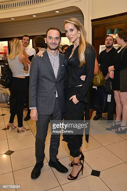 Jeff Vespa and Elizabeth Berkley attend the LA launch for Jeff Vespa's new book 'The Art of Discovery' at Brooks Brothers Rodeo on October 23 2014 in...
