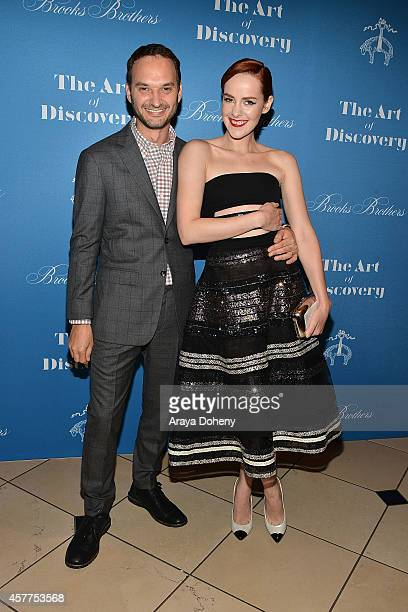 Jeff Vespa and Jena Malone attend the LA launch for Jeff Vespa's new book 'The Art of Discovery' at Brooks Brothers Rodeo on October 23 2014 in...