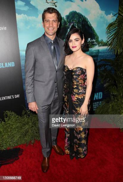 Jeff Wadlow and Lucy Hale attend the premiere of Columbia Pictures' Blumhouse's Fantasy Island at AMC Century City 15 on February 11 2020 in Century...