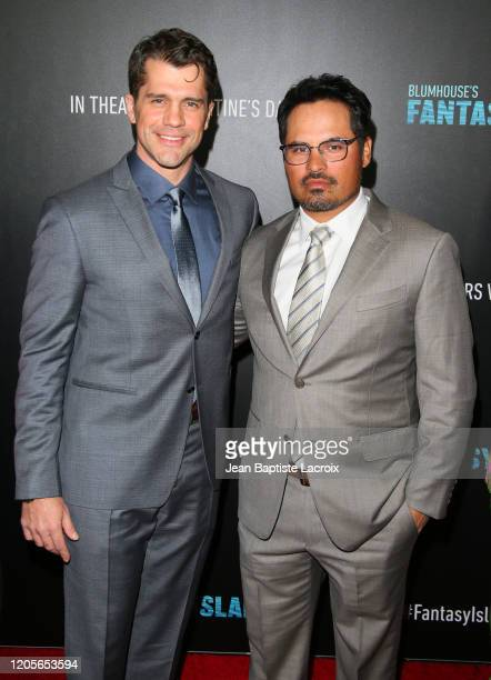 Jeff Wadlow and Michael Peña attend the premiere of Columbia Pictures' Blumhouse's Fantasy Island at AMC Century City 15 on February 11 2020 in...