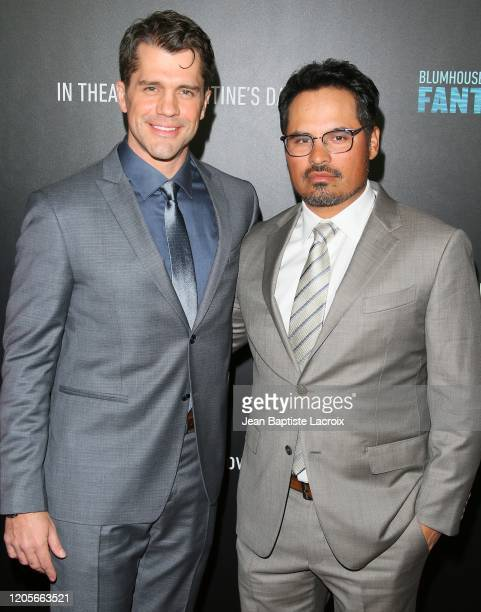 Jeff Wadlow and Michael Pena attend the premiere of Columbia Pictures' Blumhouse's Fantasy Island at AMC Century City 15 on February 11 2020 in...
