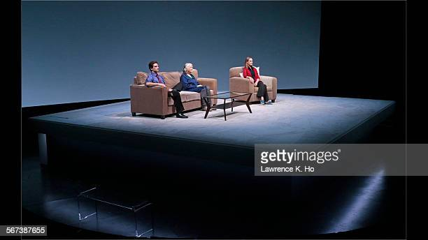 """Jeff Ward as Walter, Lois Smith as Marjorie and Lisa Emery as Tess in the world premiere of """"Marjorie Prime"""" at the Mark Taper Forum in Los Angeles..."""