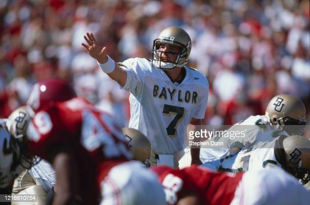 Jeff Watson, Quarterback for the Baylor University Bears calls the play on the line of scrimmage during the NCAA Big 12 Conference college football...