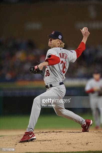 Jeff Weaver of the St. Louis Cardinals pitches during Game Two of the 2006 World Series on October 22, 2006 at Comerica Park in Detroit, Michigan....