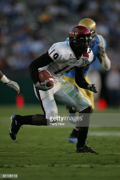 Jeff Webb of the San Diego State Aztecs carries the ball during the game against the UCLA Bruins at the Rose Bowl on October 2 2004 in Pasadena...