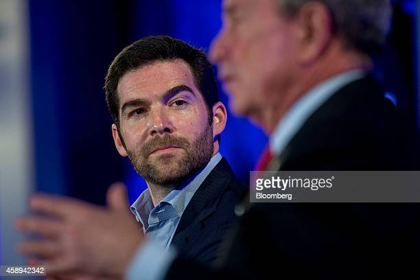 """Jeff Weiner, chief executive officer of LinkedIn Corp., left, looks on as Michael """"Mike"""" Bloomberg, founder of Bloomberg LP and former mayor of New..."""