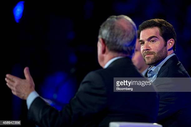 """Jeff Weiner, chief executive officer of LinkedIn Corp., right, looks on as Michael """"Mike"""" Bloomberg, founder of Bloomberg LP and former mayor of New..."""