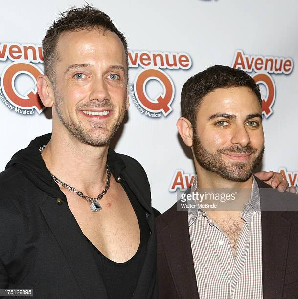 Jeff Whitty and Joe DiPasquale attend Avenue Q 10th Year Anniversary Performance at New World Stages on July 31 2013 in New York City