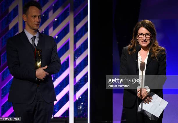 Jeff Whitty and Nicole Holofcener onstage at the 18th Annual AARP The Magazine's Movies For Grownups Awards at the Beverly Wilshire Four Seasons...