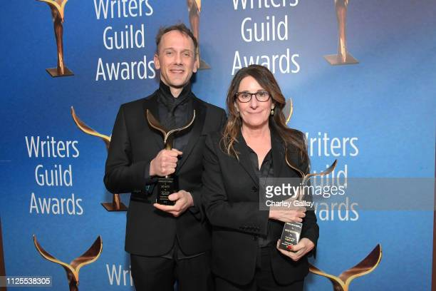 Jeff Whitty and Nicole Holofcener winners of Adapted Screenplay pose in the press room during the 2019 Writers Guild Awards LA Ceremony at The...