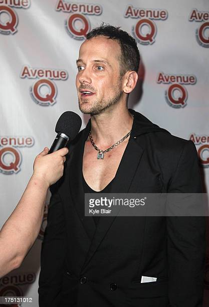 Jeff Whitty is interviewed at the Avenue Q 10th year anniversary performance at New World Stages on July 31 2013 in New York City