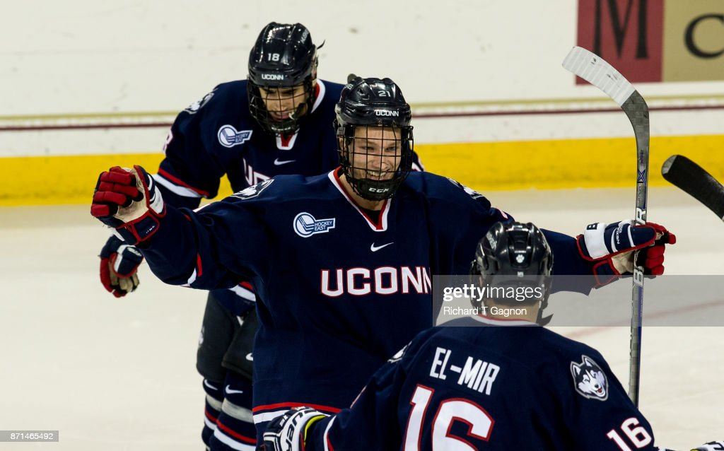 Jeff Wight #21 of the Connecticut Huskies celebrates his goal against the Boston College Eagles during NCAA hockey at Kelley Rink on November 7, 2017 in Chestnut Hill, Massachusetts. The Eagles won 2-1.