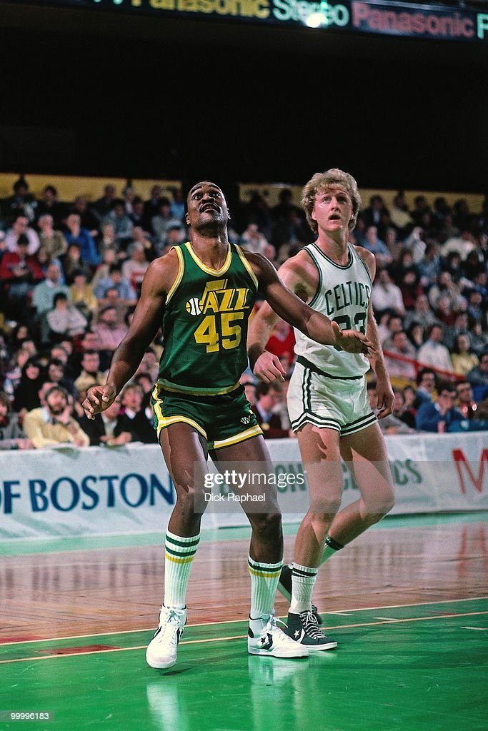Jeff Wilkins #45 of the Utah Jazz boxes out against Larry Bird #33 of the Boston Celtics during a game played in 1983 at the Boston Garden in Boston, Massachusetts.