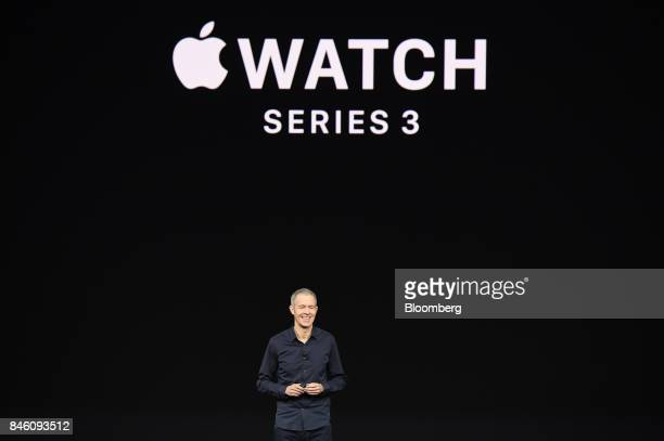Jeff Williams chief operating officer of Apple Inc speaks about Apple Watch during an event at the Steve Jobs Theater in Cupertino California US on...