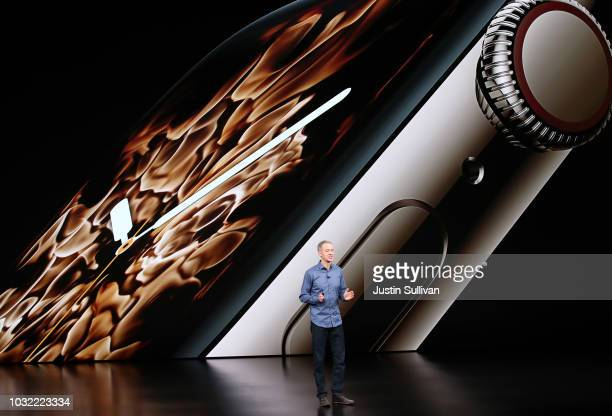 Jeff Williams chief operating officer of Apple Inc speaks during an Apple event at the Steve Jobs Theater at Apple Park on September 12 2018 in...