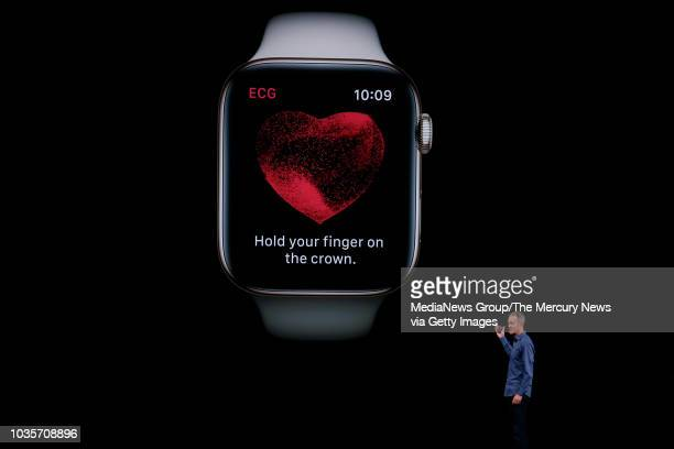 Jeff Williams introduces the new Apple Watch capable of taking an FDA-approved electrocardiogram at the company's annual product launch, Wednesday,...