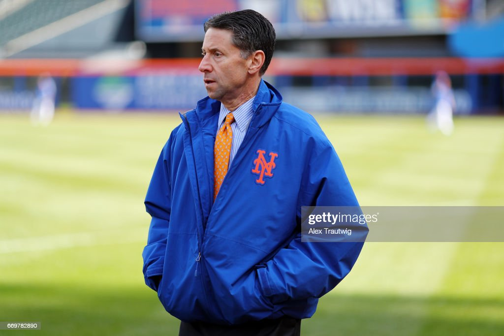 Jeff Wilpon the New York Mets walks on the field before the game between the Atlanta Braves and New York Mets at Citi Field on Monday April 3, 2017 in the Queens borough of New York City.