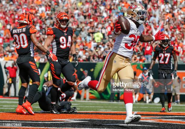 Jeff Wilson Jr #30 of the San Francisco 49ers celebrates after a touchdown during the first half against the Cincinnati Bengals at Paul Brown Stadium...