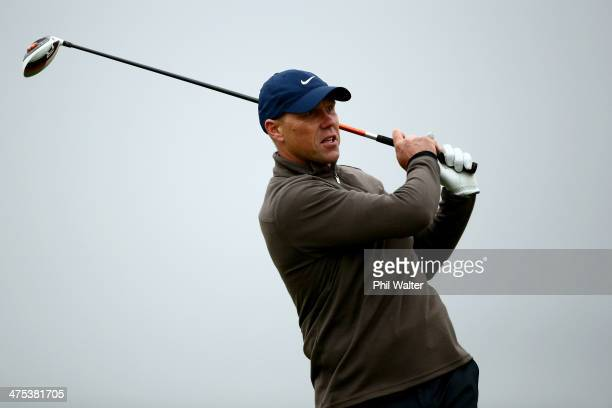 Jeff Wilson tees off during the second round of the New Zealand Open at The Hills Golf Club on February 28 2014 in Queenstown New Zealand