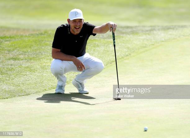 Jeff Winther of Denmark lines up a putt on the eighteenth during Day four of the Open de Espana at Club de Campo Villa de Madrid on October 06, 2019...