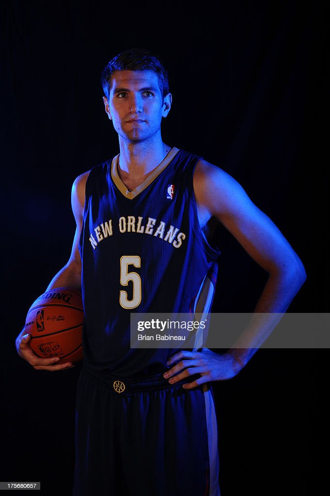 Jeff Withey #5 of the New Orleans Pelicans poses for a portrait during the 2013 NBA rookie photo shoot on August 6, 2013 at the Madison Square Garden Training Facility in Tarrytown, New York.