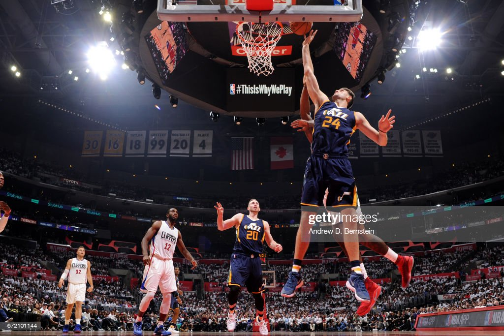 Jeff Withey #24 of the Utah Jazz shoots the ball against the LA Clippers in Game One of Round One during the 2017 NBA Playoffs on April 15, 2017 at STAPLES Center in Los Angeles, California.