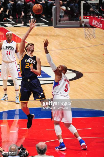 Jeff Withey of the Utah Jazz shoots the ball during a game against the LA Clippers on March 25 2017 at STAPLES Center in Los Angeles California NOTE...