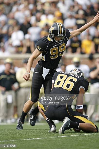 Jeff Wolfert of Missouri kicks an extra point during action between the Colorado Buffaloes and Missouri Tigers at Faurot Field in Columbia Missouri...