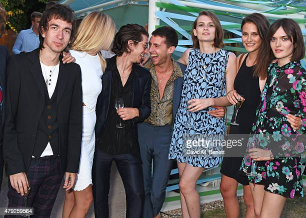 Jeff Wootton Taylor Bagley Alex Turner Miles Kane Lara Mullen Charlotte Wiggins and Sam Rollinson attend The Serpentine Gallery summer party at The...