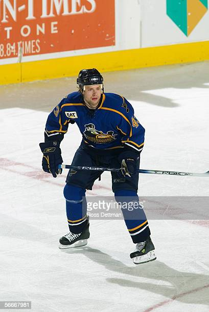 Jeff Woywitka of the Peoria Rivermen skates against the Chicago Wolves at Allstate Arena on December 11 2005 in Rosemont Illinois The Wolves won 41