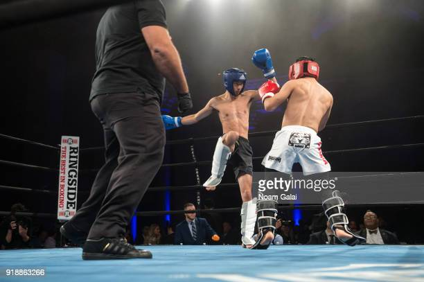 Jeff Wu and Danny Menes compete during the All Hands and Hearts Smart Response Third Annual Fight For Education gala at Cipriani Wall Street on...