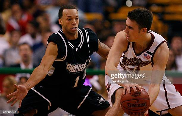 Jeff Xavier of the Providence College Friars presses Tyler Roche of the Boston College Eagles during Game 2 of the Hartford Hall of Fame Showcase at...