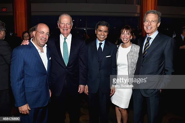 Jeff Zucker James A Baker III Fareed Zakaria Lisa Carco and Jeffrey Bewkes attend the reception for Time Warner's Conversations on The Circle A...