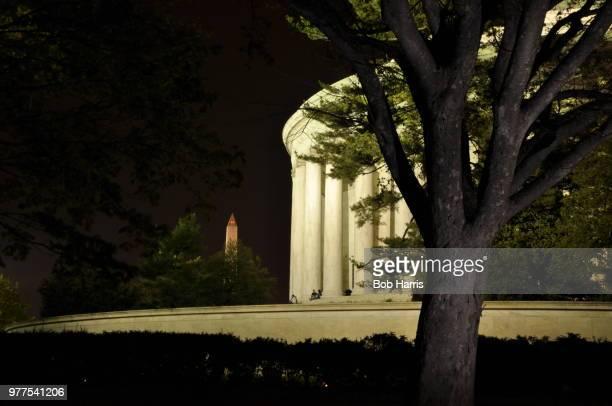 Jefferson and Washington Memorials at Night