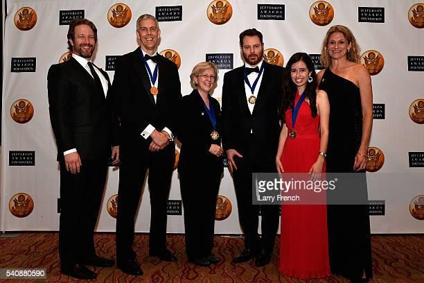 Jefferson Awards Foundation National honorees Former US Secretary of Education Arne Duncan Kyle Zimmer Sean Parker and Sophia SanchezMaes are flanked...