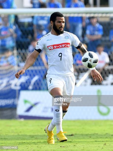 Jefferson Baiano of Mito HollyHock in action during the JLeague J2 match between Yokohama FC and Mito HollyHock at Nippatsu Mitsuzawa Stadium on...